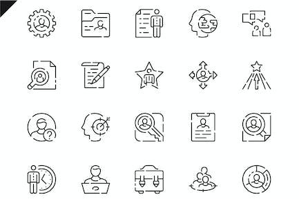 Simple Set Head Hunting Line Icons