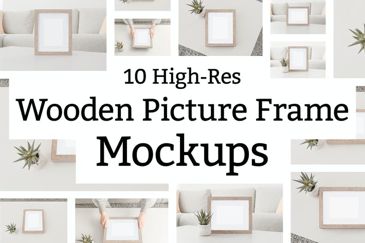 Thumbnail for 10 Wooden Picture Frame Mockups