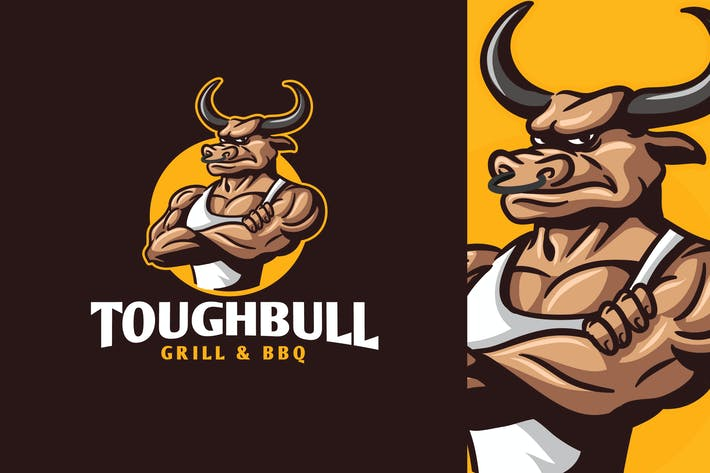 Thumbnail for Tough Bull - Cartoon Muscular Bull Character Logo