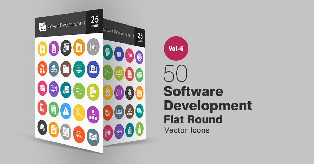 50 Software Development Glyph Multicolor BG Icons by Unknow