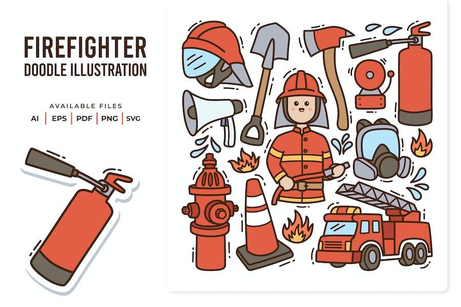 Firefighter Doodle Illustration