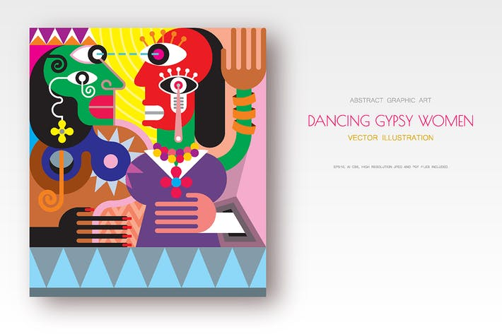 Thumbnail for Dancing Gypsy Women modern art vector illustration