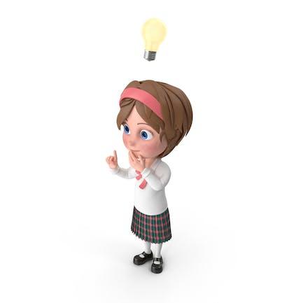 Cartoon Mädchen hat ein Idee
