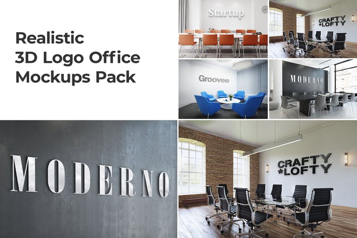Thumbnail for 3D Logo Office Mockups Pack vol.1