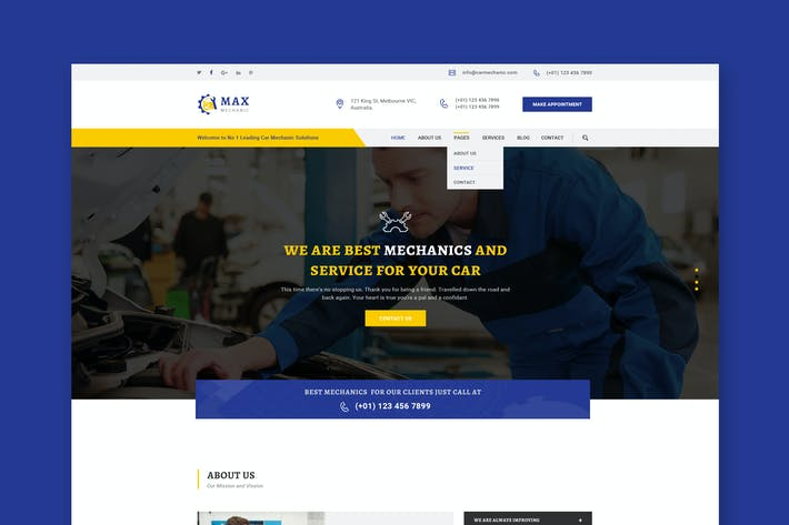 Cover Image For Car Mechanic PSD Template