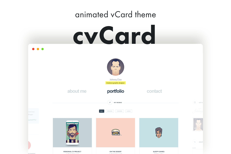 cvCard - Animated vCard & Resume WordPress Theme by