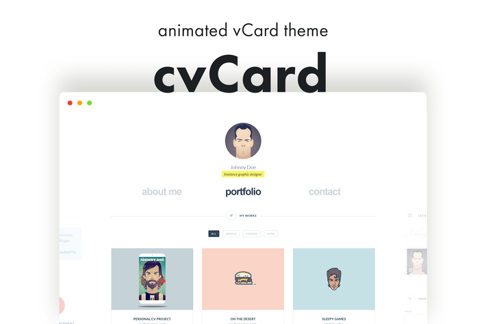 Cover Image For cvCard - Animated vCard & Resume WordPress Theme