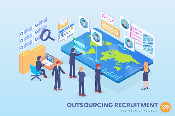 Thumbnail for Isometric Outsourcing Recruitment Vector Concept