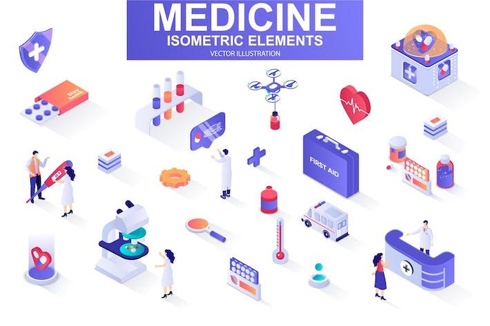 Thumbnail for Medicine Isometric Design Elements