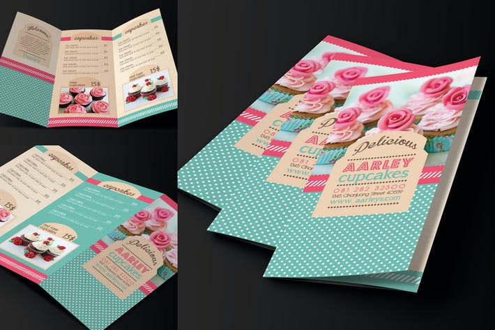 Thumbnail for Trifold Cupcakes Menu Template
