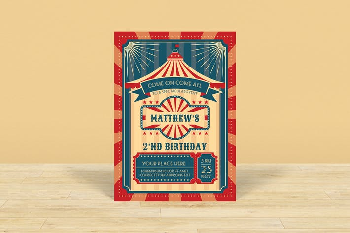 Thumbnail for Circus Theme Birthday Invitation