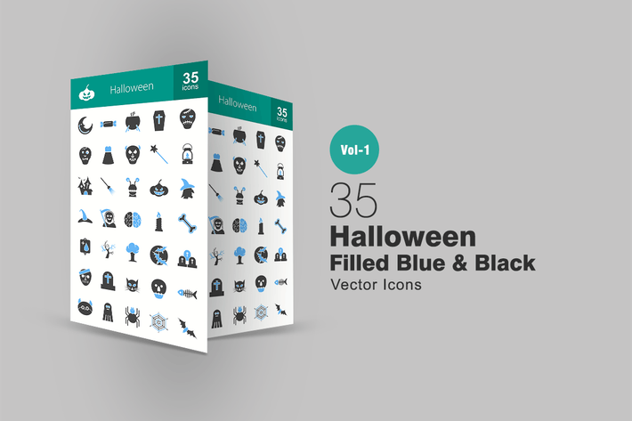 Thumbnail for 35 Halloween Blue & Black Icons