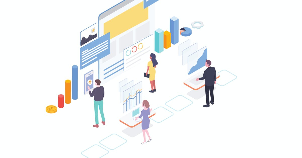 Download SEO Optimation Isometric Illustration - G1 by angelbi88