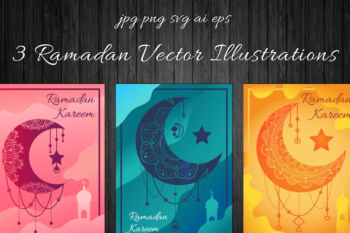 Thumbnail for Ramadan Kareem Mond Illustrationen Set