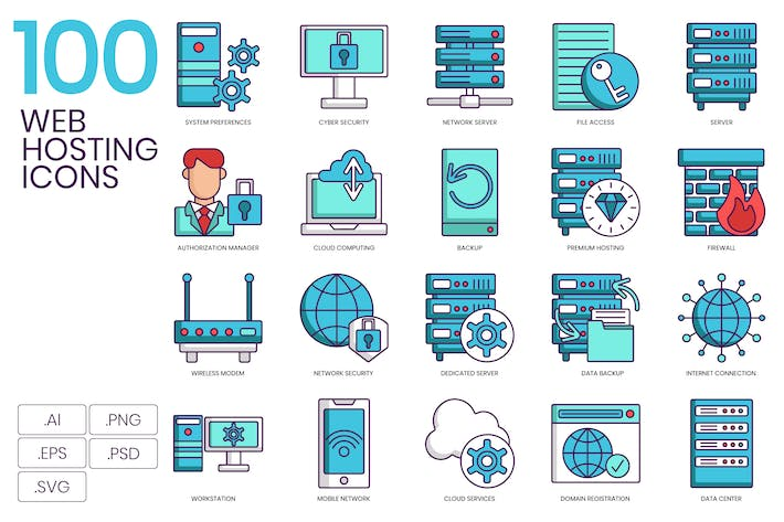 100 Web Hosting Icons