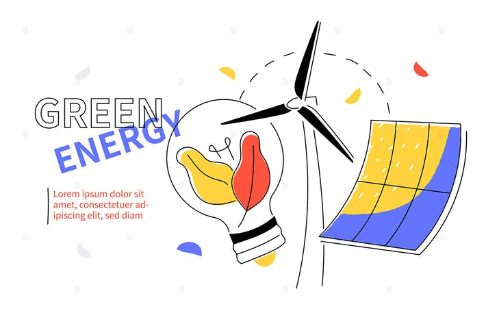 Thumbnail for Green energy - flat design style web banner