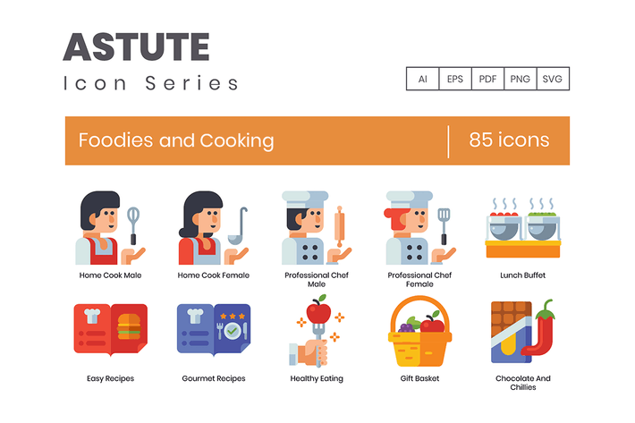 Thumbnail for 85 Foodies and Cooking Flat Icons