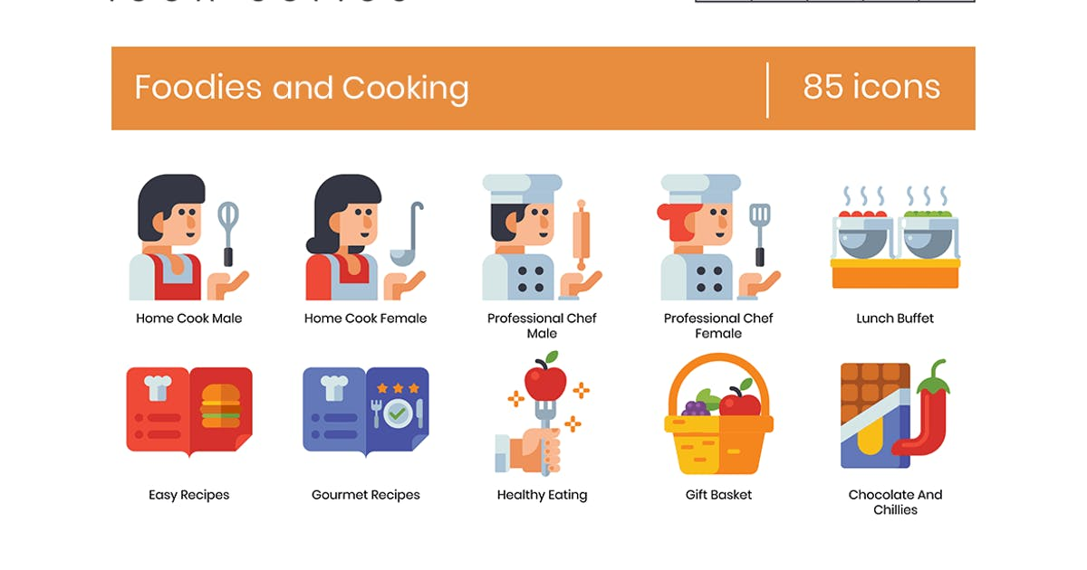 Download 85 Foodies and Cooking Flat Icons by Krafted