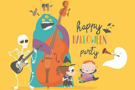 Verrückte Musik-Party mit Band von Cartoon Halloween c