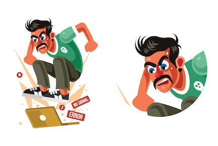 Man Angry with Laptop Computer Vector Illustration