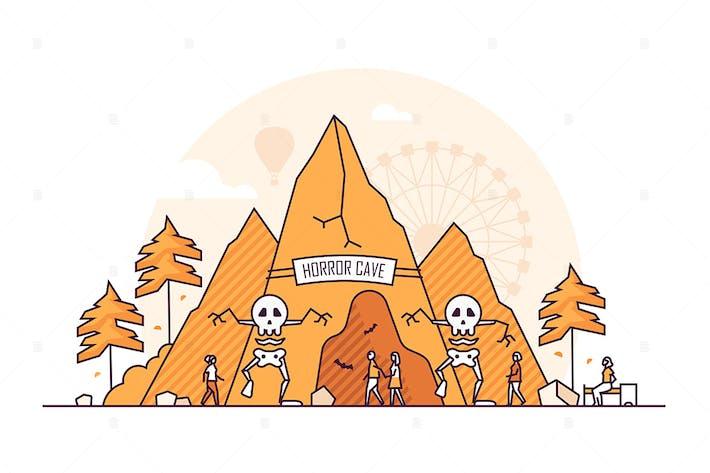 Thumbnail for Horror cave - line design style illustration