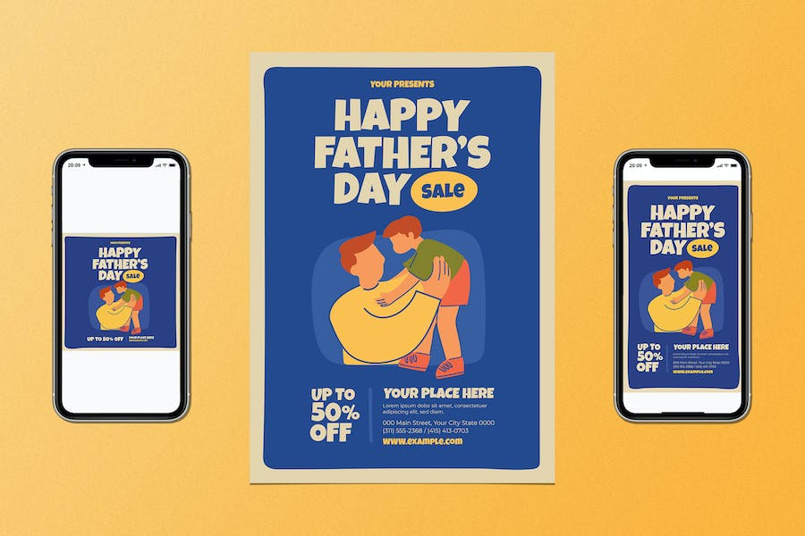Happy Father's Day Sale Flyer Set