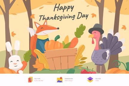 Happy Tanksgiving Day Illustration