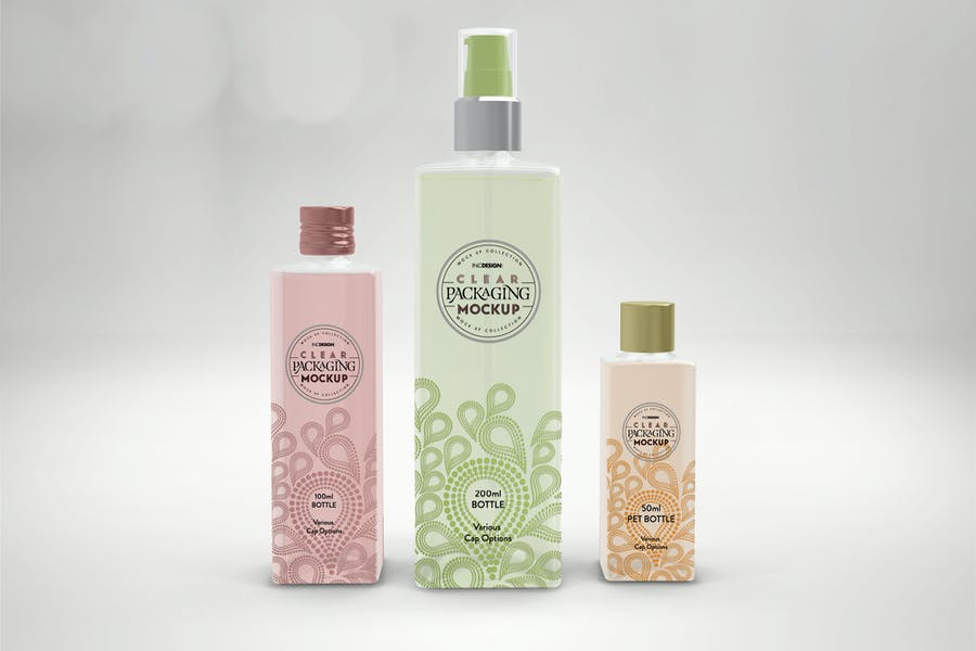 Clear Square PET Bottles Packaging Mockup