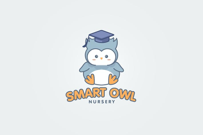 Thumbnail for Cartoon Cute Smart Owl Mascot Logo