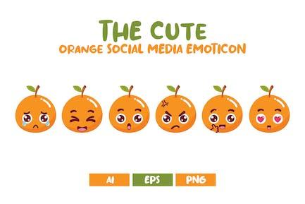 Emoticon lindo naranja de las redes sociales