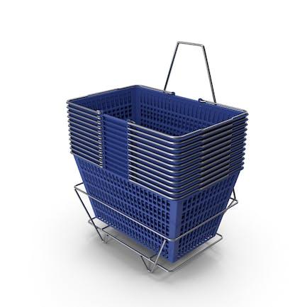 Set von 12 blauen Einkaufskörben mit Ständer