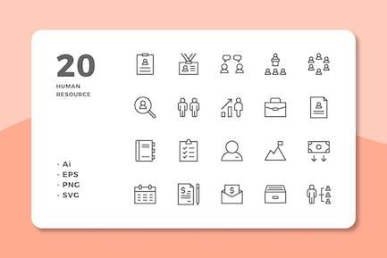 20 Íconos de recursos humanos (línea)