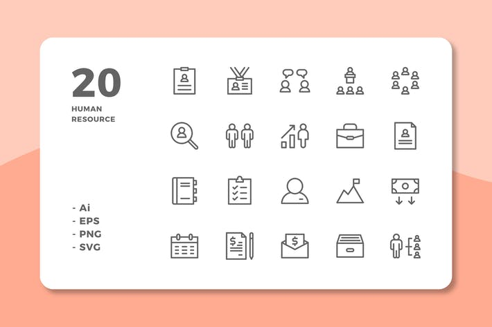 Thumbnail for 20 Human Resource Icons (Line)