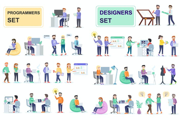 Thumbnail for Programmers and Designers Flat People Characters
