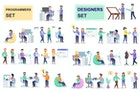 Programmers and Designers Flat People Characters