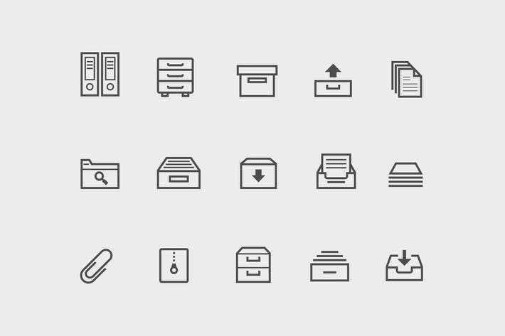 Thumbnail for 15 Archive and Filing Icons