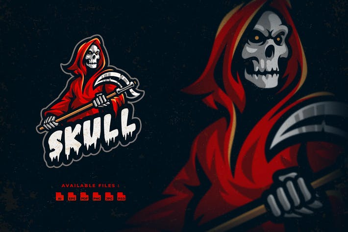Thumbnail for Skull Mascot Logo