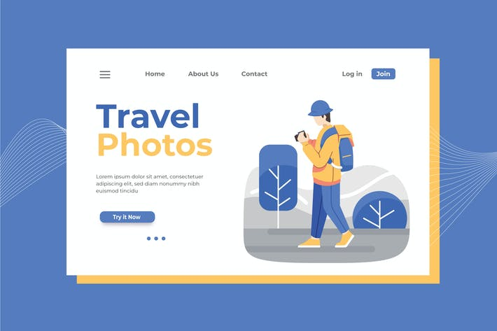 Thumbnail for Travel Photographer Landing Page Illustration