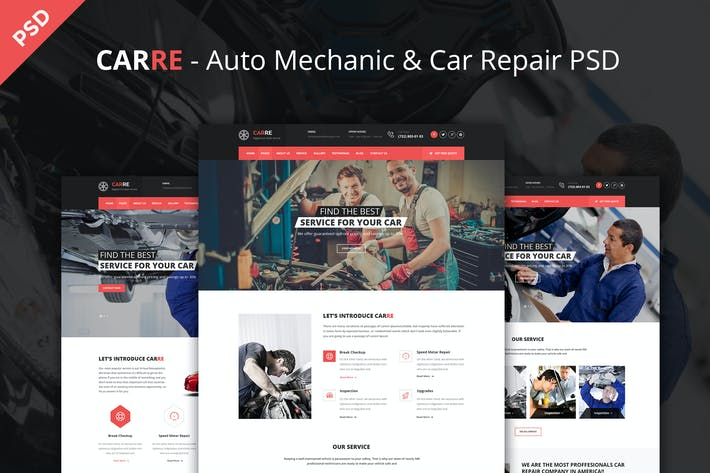Thumbnail for CARRE - Auto Mechanic & Car Repair PSD Template