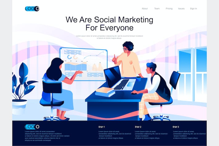 Thumbnail for Social Marketing Isometric Landing Page Template