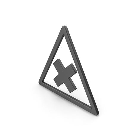 Symbol Road Sign with Cross Black