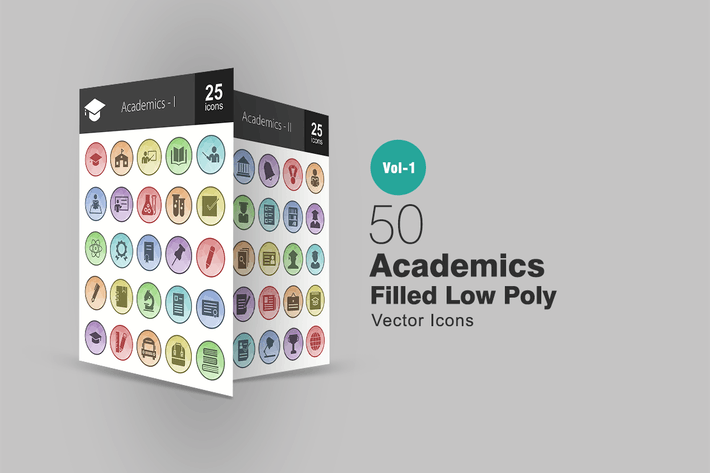Cover Image For 50 Academics Filled Low Poly Icons