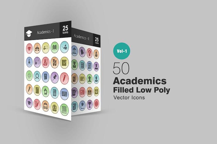 50 Akademiker gefüllt Low-Poly-Icons