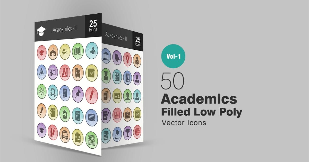 Download 50 Academics Filled Low Poly Icons by IconBunny