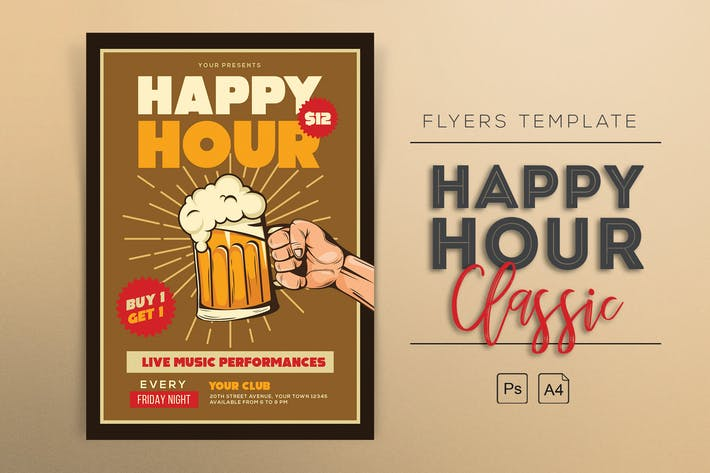 Cover Image For Classic Happy Hour Flyers