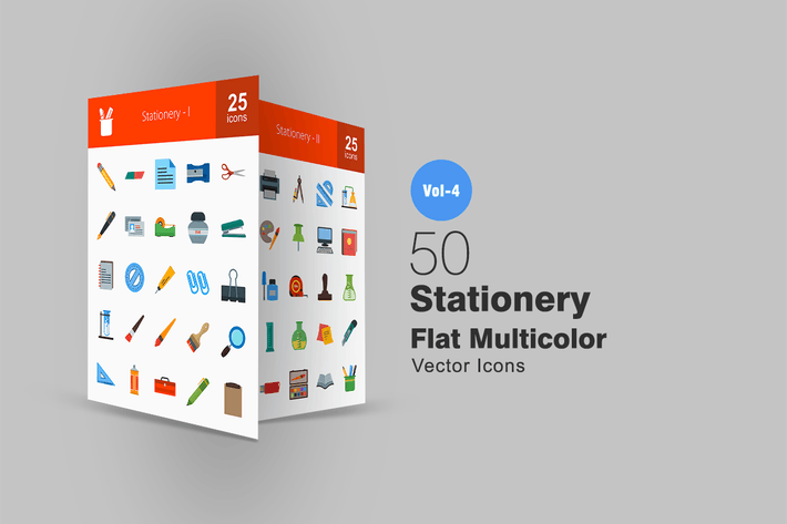 Cover Image For 50 Stationery Flat Multicolor Icons