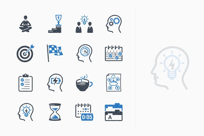 Thumbnail for Productivity Improvement Icons Set 1 - Blue Series