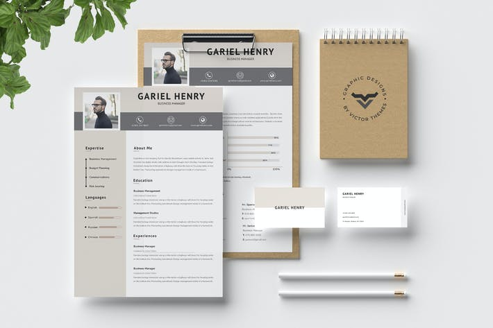 Cover Image For Professional CV Template with Business Card