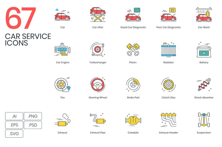 Thumbnail for 67 Car Service Icons