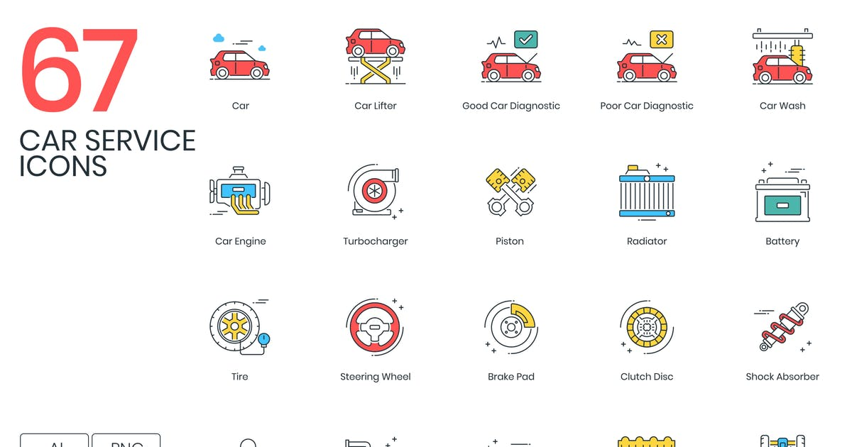 Download 67 Car Service Icons by Krafted